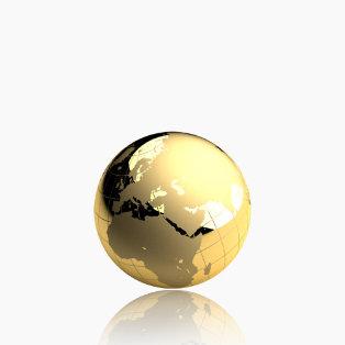 Weltkugel aus Gold